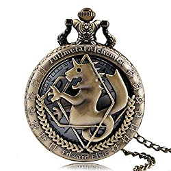 GPWDSN Retro Pocket Watch, Fullmetal Alchemist Pocket Watches for Men, Edward Elric Anime Cosplay Gifts,Pocket Watch Wall Clock