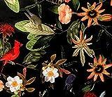 Plants and Birds Passiflora Tela de Terciopelo Vendido por Metro...