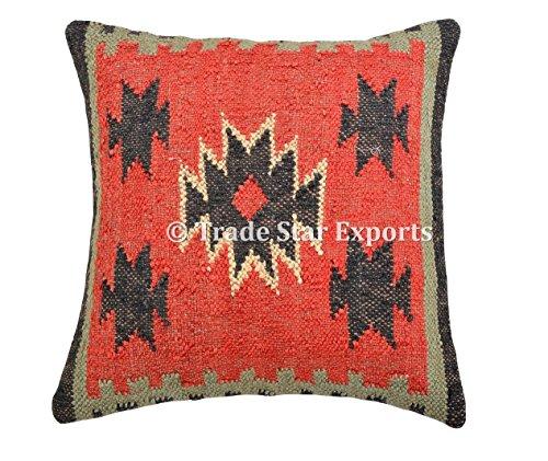 Funda de cojín de Kilim tejida a mano, 45,7 x 45,7 cm, decorativa, cuadrada, hecha a mano, para sofá
