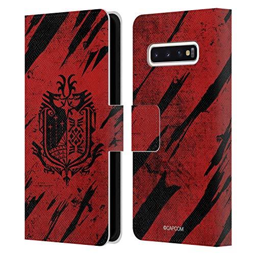 Head Case Designs Officiel Monster Hunter World Grunge Logos Coque en Cuir à Portefeuille Compatible avec Samsung Galaxy S10