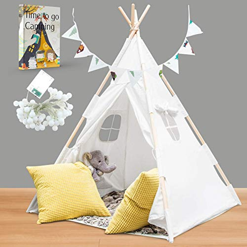Hill and Gully Teepee Tent for Kids with Lights, Flags, Floor and Carry Case – Large Foldable Play Tipee Tent for Boys, Girls, Toddlers, Baby - Cotton Canvas Playhouse Tpee Tent for Indoor Outdoor