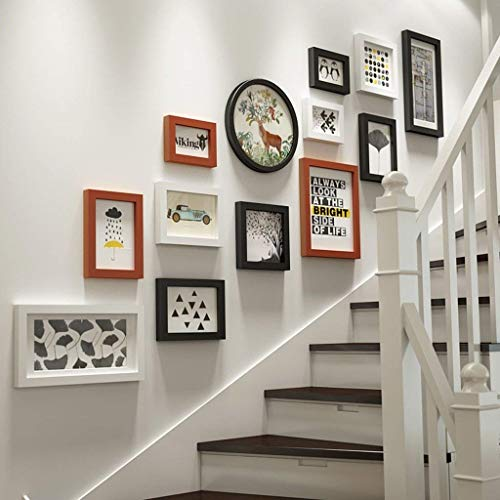 Cadre Photo Collage Set 13 pièces Cadre Mural, Combinaison en Bois Massif Cadres à Tableaux muraux, escaliers Photo créative décoration Murale (Couleur : Black+White+Wood)