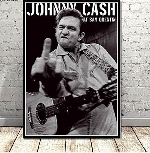 NVRENHUA Johnny Cash Poster Rock Music Band Star Carteles e Impresione