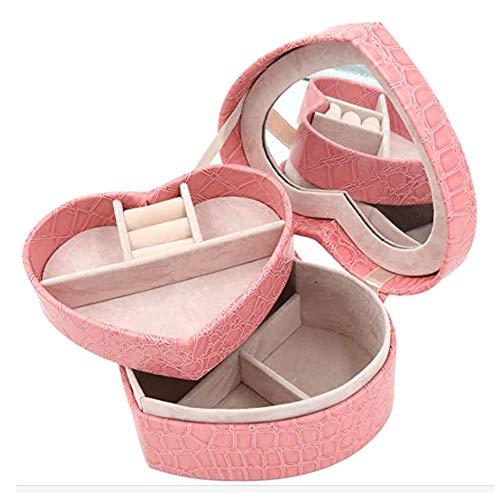 Adel Dream Boîte à bijoux rectangulaire pour femme et jeune fille Petite boîte à bijoux de voyage pour bagues, boucles d'oreilles et colliers Trois couleurs aux choix