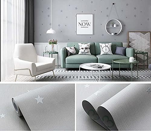 xiaoshun Papel de Contacto Papel Tapiz Gris Papel Tapiz de renovación de Escritorio Autoadhesivo Dormitorio Fondo Pegatinas de Pared-0,6 * 5 M_N Style Silver Grey Starry Sky