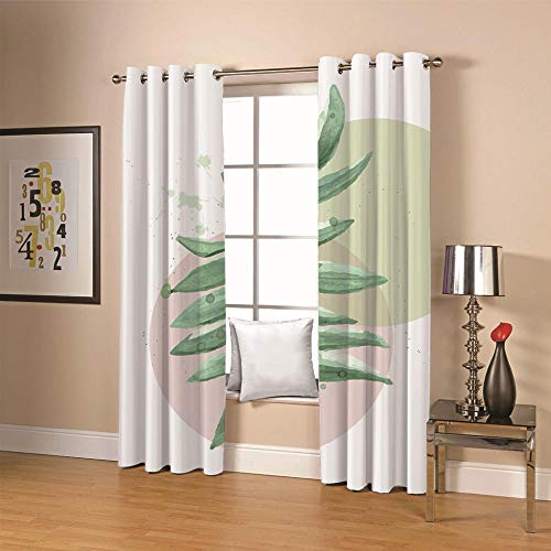 QHDIK Kids Printed Blackout Curtains for Bedroom leaf Patterns Curtains Eyelet Thermal Insulated Room Darkening Window Treatment for Nursery 2 Panels W55 x H96 inch