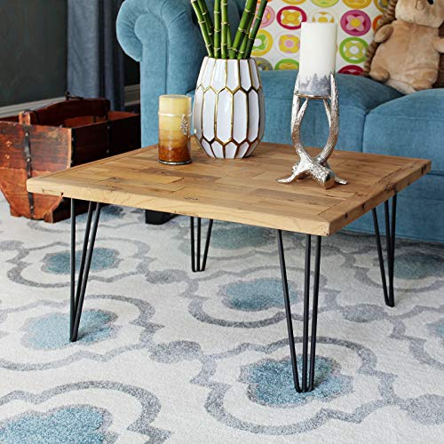 WELLAND Square Old Elm Coffee Table with Metal Stand