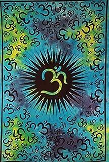 CraftEssentialsOnline.com Blue Om Mandala Tapestry   Unique Meditation Home Decor   57