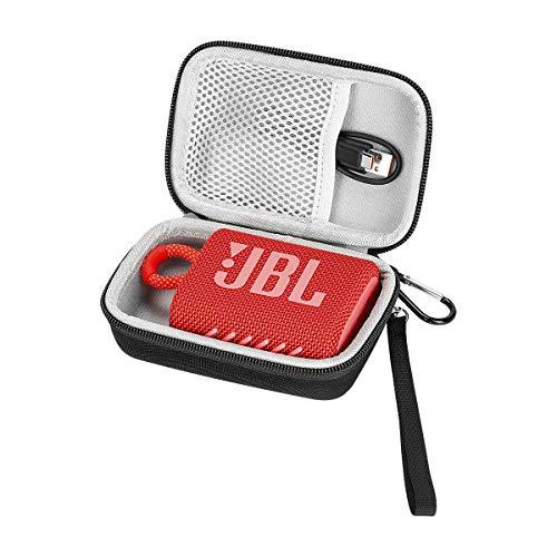 Linghuang Bolsa de Almacenamiento Estuche Rígido para JBL GO 3 Altavoz Bluetooth Caja Protectora Portátil para Altavoz Sofá de Viaje con Mosquetón Tamaño 15,1 * 9,9 * 6,4 cm (Gris)