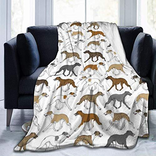 venty Flanell Fleece Decke Kleinkind Größe Trab Whippet Border Pattern Leichte Super Soft Cosy Mikrofaser Bettdecke