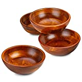 "Wooden Salad Bowls - Set of 4, Multipurpose Individual 7"" x 2.5"" Food Bowls, Durable Hardwood Serving and Prep Bowl for Salads, Soups, Cereal, Fruit Bowl and More – 24 oz."