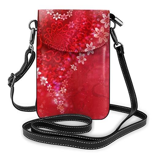Bolso ligero de piel sintética para teléfono celular, para el día de San Valentín, con forma de corazón, color rojo y flores, color Negro, talla Talla única