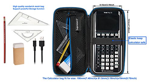 Supremery for Texas Instruments TI-84 CE Plus Graphing Calculator Hard Carrying Travel Storage Case Bag - Black/Blue Photo #7