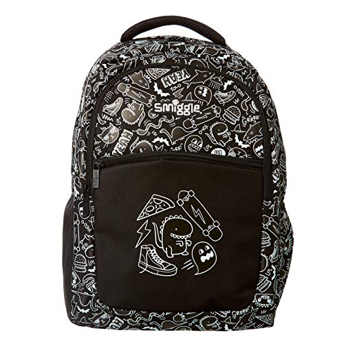 Smiggle Neat Kids School Backpack for Boys & Girls with 3 Zipped compartments and Drink Bottle Sleeve   Monochrome Print