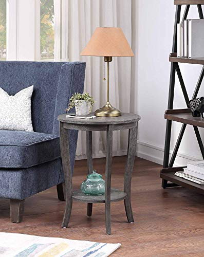 Convenience Concepts American Heritage Round End Table, Dark Gray Wirebrush