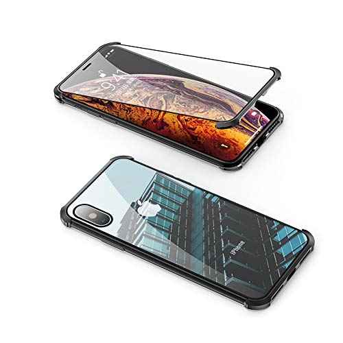 Compatible with iPhone Xs/X Frameless Case, Jonwelsy 360 Degree Front and Back Transparent Tempered Glass Cover, Strong Magnetic Adsorption Metal Bumper for iPhone Xs/X (5.8 inch) (Black)