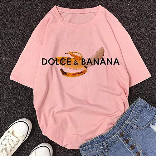T-Shirt Femme Tshirt New Summer O-Neck À Manches Courtes T-Shirt Mignon De Bande Dessinée Femmes L 11467-Rose