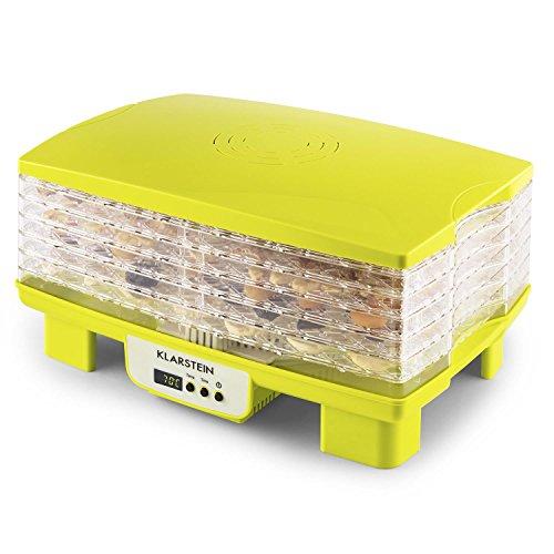 Klarstein Bananarama - Dörrgerät, Dörrautomat, Obst- Fleisch- und Früchte-Trockner, 6 Etagen, stapelbar, 550 Watt, einstellbare Temperatur, Umluftbetrieb, LCD-Display, BPA-frei, gelb-grün