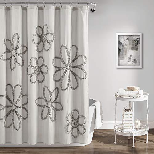 Single Ruffle Flower Shower Curtain Gray - Lush Décor