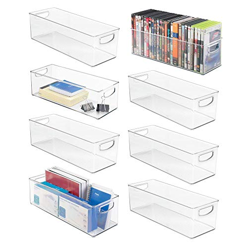mDesign Large Stackable Plastic Storage Bin Container, Home Office Desk and Drawer Organizer Tote with Handles - Holds Gel Pens, Erasers, Tape, Pens, Pencils, Markers - 16' Long, 8 Pack - Clear