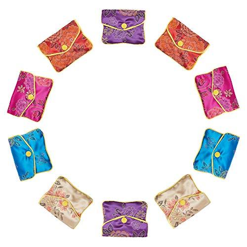 NBEADS 120 Bolsas de joyería Brocado con Cremallera, Bolsa de Regalo, 2,7 x 3,1 Pulgadas