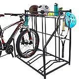 ROTTOGOON Bike Rack for Garage Floor, Garage Bike Rack with 3 Bike Stands, Storage Basket, 4...