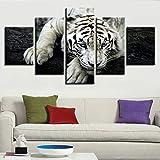 5 piezas de lienzo de arte de pared Animal tigre blanco 5 piezas de lienzo Foto Regalo Moderno Decoración Decorativo para Tu Salón o Dormitorio Mural Hd Con Marco