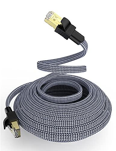Cat 7 Netzwerkkabel 15m, Snowkids Hochgeschwindigkeits Ethernet Kabel 10Gbit/s 600MHz Flach Nylon geflochtener professioneller vergoldeter STP-Kabel CAT 7 RJ45 Ethernet-Kabel für Router, Modem, Switch