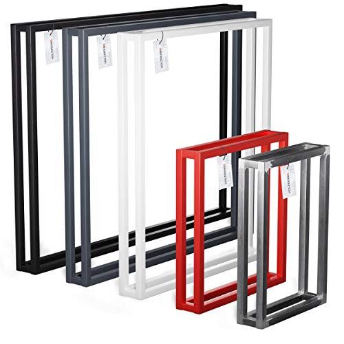 HOLZBRINK Pata para escritorio, mesa de centro, mesa de comedor, Pata de mesa 50x72 cm (ancho x alto), Negro, 1 UNIDAD, HLT-18-L-II-9005