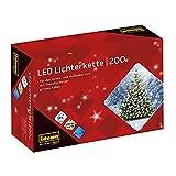 Idena 8325066 - LED Lichterkette mit 200 LED in warmweiß, mit 8 Stunden Timer Funktion und Transformator, ca. 27,9 m lang, Innen- und Außenbereich, für Partys, Weihnachten, Deko, Hochzeit