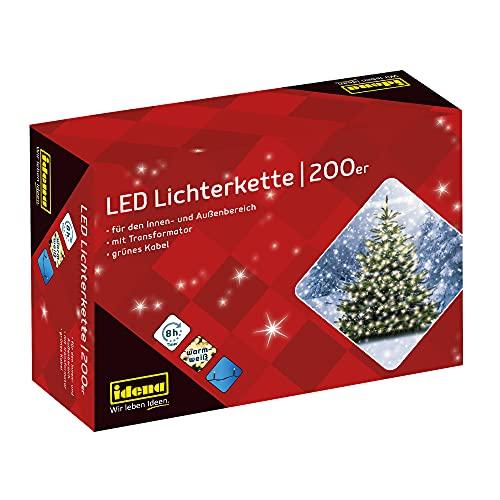 Idena 8325066 - LED Lichterkette mit 200 LED in warmweiß, mit 8 Stunden Timer Funktion und Transformator, ca. 27,9 m lang, Innen- und...