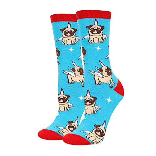 Womens Girls Novelty Crazy Cat Dog Socks, Cute Funny Flying Pug
