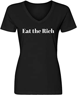 Indica Plateau Womens Eat The Rich Blank V-Neck T-Shirt