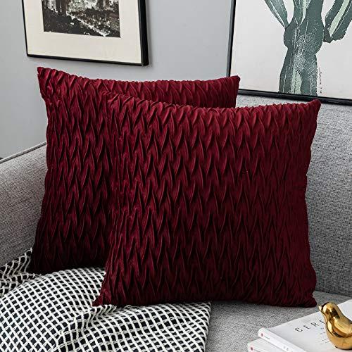 Yamonic Kissenbezüge Set Samt Soft Solid Dekorative Kissen Fall für Sofa Schlafzimmer 40cmx40cm 2er Pack für Couch Bett Sofa Stuhl Schlafzimmer Wohnzimmer, Rot
