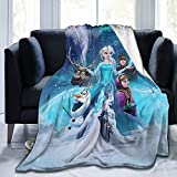 Frozen Fluffy Throw Fleece Flannel Blanket Elsa Anna Olaf Sven Print for Bed Sofa