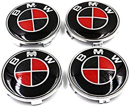 4Pcs B-M-W Wheel Center Caps Emblem, 68mm B-M-W Rim Center Hub Caps for All Models with B.M.W Wheels Logo Red & Black Color