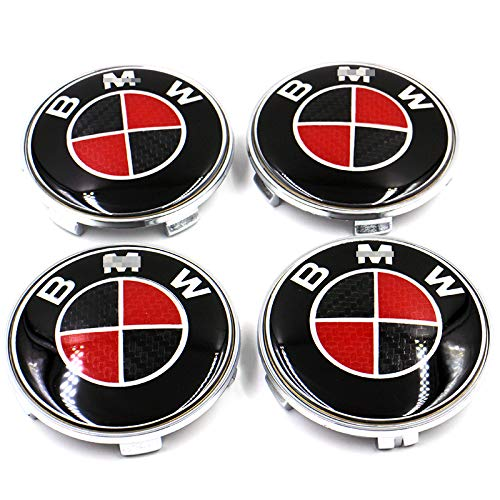 4Pcs B-M-W Wheel Center Caps Emblem, 68mm B M W Rim Center Hub Caps for All Models with B M W Wheels Logo Red & Black Color