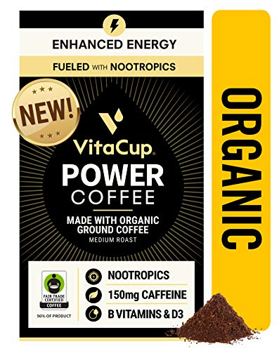 VitaCup Power Coffee Organic Fair Trade Ground Coffee w/ Nootropics & Vitamins for Energy and Cognitive Clarity for Drip Coffee Brewers & French Press, 10 OZ