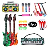 Herefun Inflables de Juguete, 16 Pcs Inflable Rock Guitarra Micrófono...