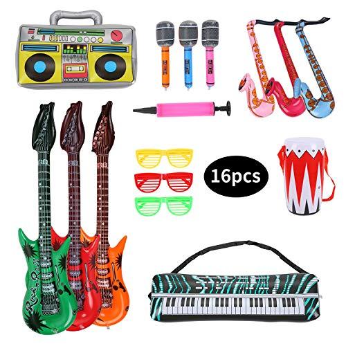 Herefun Aufblasbare Rockstar Set, 16 Stück Aufblasbare Party Props, Aufblasbares Saxophon Gitarre Mikrofon Trommel Musikinstrumente Zubehör, Party Supplies Party Favors Ballons Zufällige Farbe