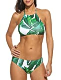 Ekouaer Womens Forest Leaves Printing High Neck Halter Bikini Set Swimsuit (Army Green, S)
