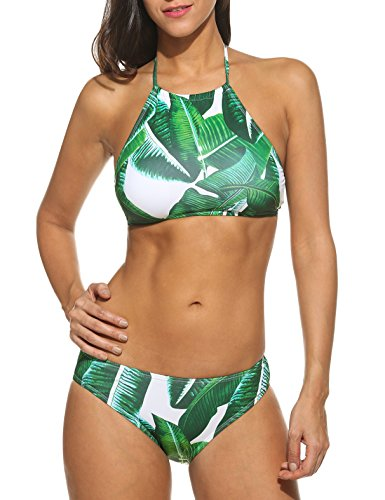 Ekouaer Womens Forest Leaves Printing High Neck Halter Bikini Set Swimsuit (Army Green, XXL)