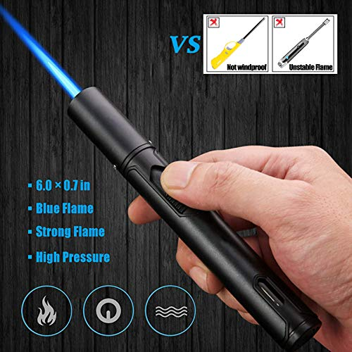 Yeuligo Gas Lighter, 6.0in Jet Torch Butane Lighter with Visible Window, Windproof lighter Adjustable Jet Flame for BBQ…