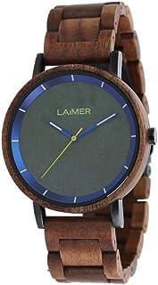 LAiMER Orologio da polso per uomo LAURENZ - Orologio al quarzo in legno noce con quadrante granito, 42mm