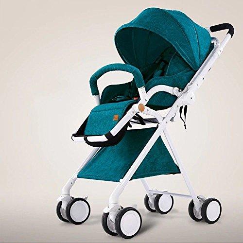 LZTET Kinderwagen-Reise-System-Kombi-Spaziergänger-Buggy-Baby-KinderPushchair Reverse- Oder Vorwärtseinfassungen Regen-Abdeckungs-Netto-Flaschen-Halter Faltbar,Green