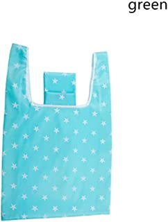 New Hot Sale Fashion printing foldable green shopping bag Tote Folding pouch handbags Convenient Large-capacity storage bags (green)