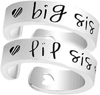 NextStone Fashion Sister Gift Stainless Steel Ring Big Middle Little Sister Ring Set of 3pcs