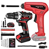 2 In 1 Cordless Drill Electric Impact Driver/Inflator Kit, with 2 Variable Speed(0-400 and 0-1500 Rpm), 30 Pcs Drill Accessories and 2Ah Rechargeable Battery for Home Improvement & Diy Project