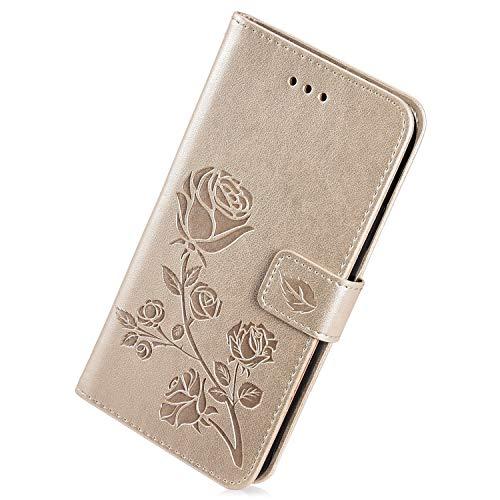 Herbests Cover Compatibile con Samsung Galaxy Grand Prime G530 Custodia PU Leather Retro Vintage Flip Cover Case Goffratura Rose Fiore Modello Copertura Puro Color Custodia Portafoglio, Oro
