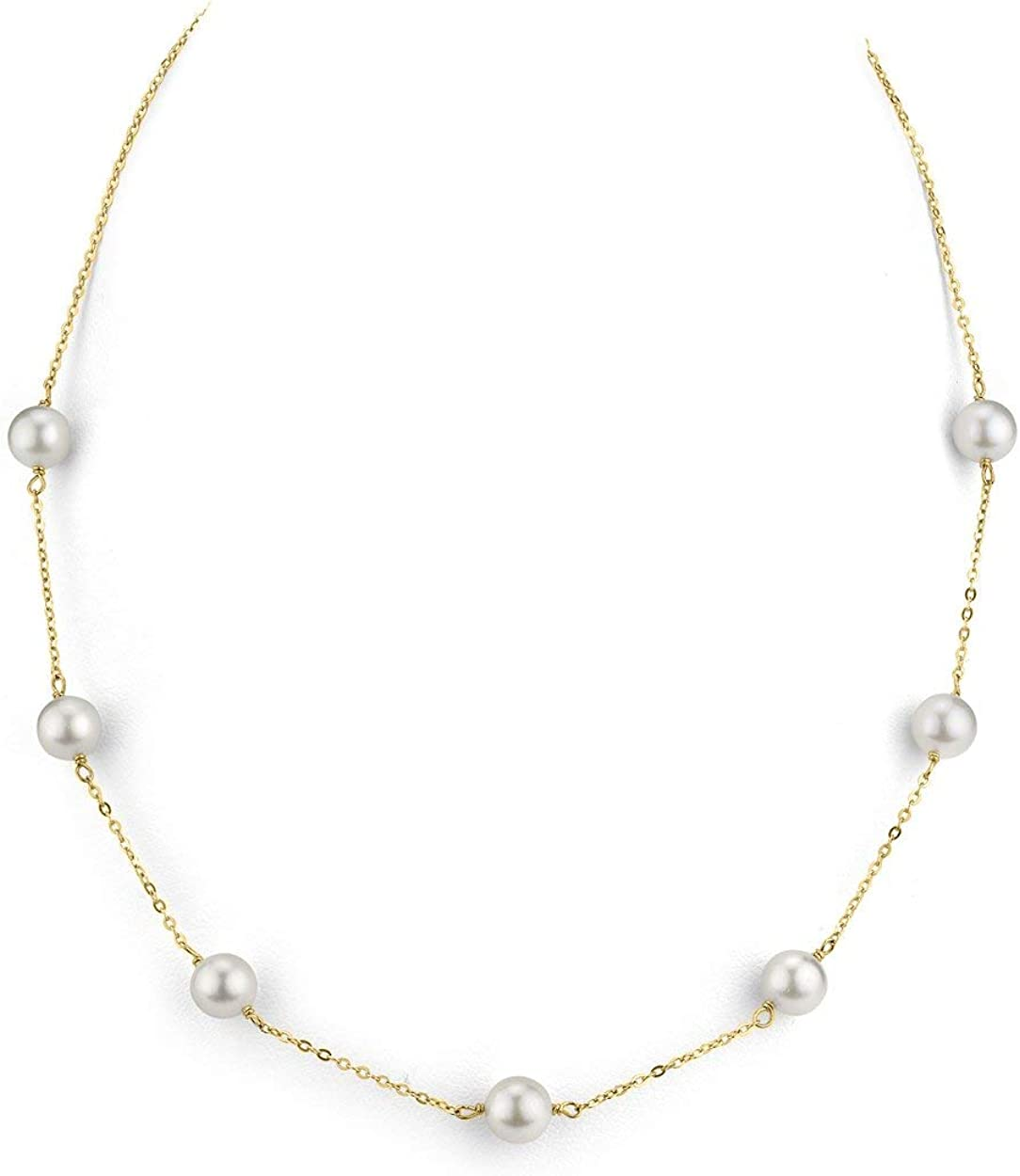 THE PEARL SOURCE 14K Gold AAA Quality Round Genuine White Japanese Akoya Saltwater Cultured Pearl Tincup Necklace for Women